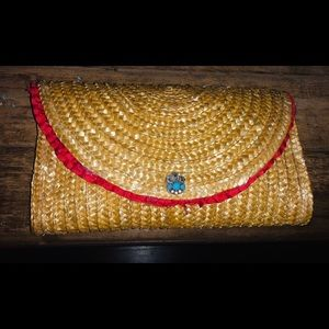Straw Clutch Turquoise Button